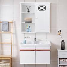 costway hängeschrank verstellbarer einlegeboden badezimmer