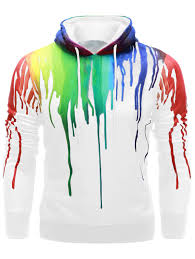 long sleeve paint dripping hoodie in white s sammydress com