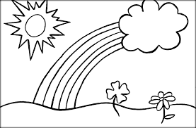 Rainbow Coloring Pages With Clouds And Sun