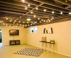 Exposed Basement Ceiling Lighting Ideas by String Lights On The Ceiling For Extra Basement Lighting What