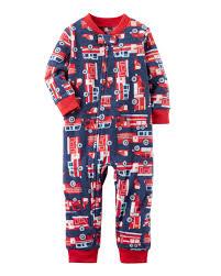 1-Piece Firetruck Fleece Footless PJs | Pjs | Boys, Carters Baby ...