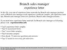 Branchsalesmanagerexperienceletter 140828093817 Phpapp01 Thumbnail 4cb1409218721