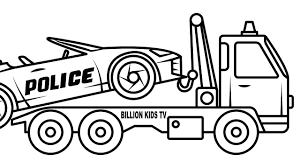 Convertible Police Car Carrier Truck Coloring Pages, Colors For Kids ... Tow Truck Coloring Page Ultra Pages Car Transporter Semi Luxury With Big Awesome Tow Trucks Home Monster Mater Lightning Mcqueen Unusual The Birthdays Pinterest Inside Free Realistic New Police Color Bros And Driver For Toddlers