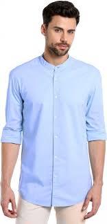 Dennis Lingo Men s Solid Casual Light Blue Shirt Buy Sky Blue