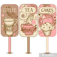 fototapete kaffee und kuchen etiketten