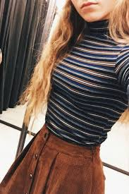 Fall Fashion Striped Knit Camel Skirt