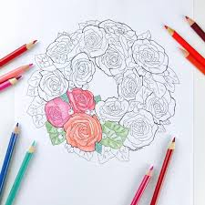 Buttercream Roses Flower Wreath Cake Coloring Page For Adults Hand Drawn Line Art By Olga Zaytseva