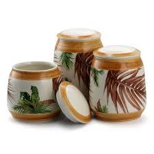 Ceramic Kitchen Canister Sets Elama Forest Palm 3 Ceramic Kitchen Canister Set In Sand