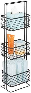 mdesign badezimmer regal schmales badregal mit drei körben für kosmetik handtücher und mehr standregal im vintage stil für bad küche und büro