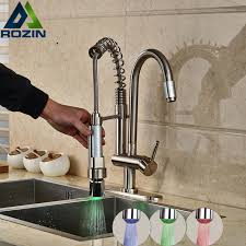 rgb color changing kitchen sink mixers deck mount one handle
