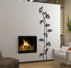 Interior Marvelous Bamboo Tree Paint Side Fire Pit On Wall For Pattern Ideas With