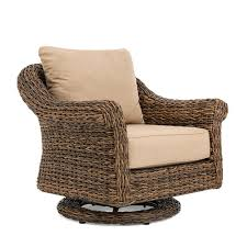 BLUE OAK Bahamas Swivel Wicker Outdoor Lounge Chair With Sunbrella Canvas  Heather Beige Cushion