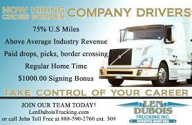 Now Hiring Cross Border Company Drivers - Len Dubois Trucking Driving Jobs At Coinental Express May Trucking Company Small To Medium Sized Local Companies Hiring Team Truck Drivers Husband Wife The Culvers Youtube How Went From A Great Job Terrible One Money Mfx Ftl Trucking Companies Service Full Load Advantages And Disadvantages New Team Driver Offerings From Us Xpress Fleet Owner Choosing Best To Work For Good Careers Teams Transport Logistics Cdllife Dicated Lane Driver Dry Van