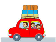 A Car Traveling With Luaguage Clipart