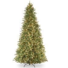 9ft Pencil Christmas Tree by National Tree Pre Lit 9 U0027 Feel Real Tiffany Fir Slim Hinged