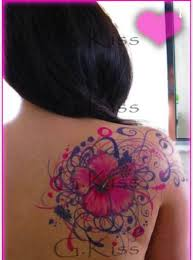 Pink And Purple Hawaiian Flower Tattoo On Right Back Shoulder By Blackstar Designs