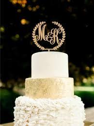 Custom Monogram Wedding Cake Topper Initial Wooden Rustic Gold Silver