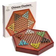 YMI Wooden Chinese Checkers Set With Glass Marbles Board Game W Drawer