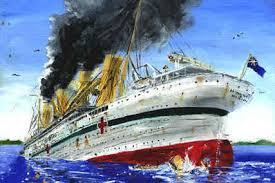 britannic sinking painting by ryan hill 100 years kea shipwrecks org