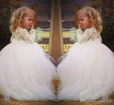 Sweet Lace Flower Girl Dress For Weddings Vintage Long Sleeve Ball