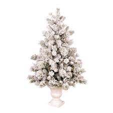 Pre Lit Pencil Christmas Tree Walmart by 4 5 Ft Pre Lit Pine Flocked White Artificial Christmas Tree