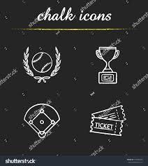 Baseball Chalk Icons Set Softball Ball Stock Vector (Royalty Free ...