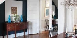 Dining Room Navy Accent Wall Anne Tollett Interiors Custom Blue Foo Dogs