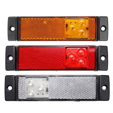 100 Truck Marker Lights 3 LED Side With Rear Reflector Indicator 1224V AmberRedWhite For Lorry Trailer