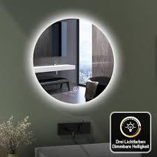 emke led badspiegel 60cm badspiegel mit beleuchtung 3 lichtfarbe lichtspiegel badezimmerspiegel rund wandspiegel mit touchschalter ip44 energiesparend
