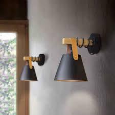 zmh wandleuchte schwarz vintage wandle holz e27 industrie innenbeleuchtung für schlafzimmer küche esszimmer