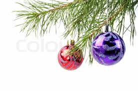 Christmas Tree Branches With Beauty Balls On A White Background