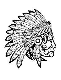 Free Coloring Page Adult Indian Native Chief Profile
