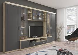 wohnwand anbauwand wohnkombi wohnzimmer mdf grau