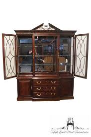 Baker Breakfront China Cabinet by High End Used Furniture Thomasville Mahogany Collection 72