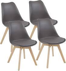 albatros esszimmerstühle aarhus 4 er set grau mit beinen aus massiv holz buche skandinavisches retro design