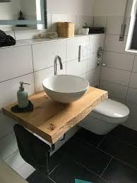 waschtisch platte konsole baumkante ablage holz eiche bad wc