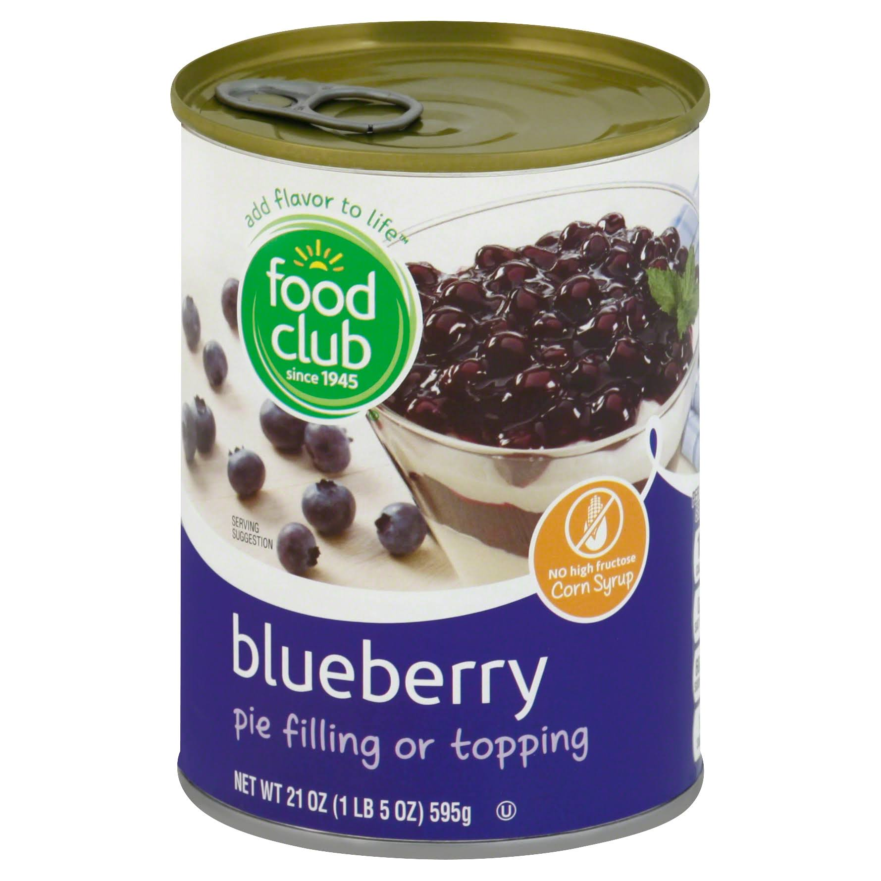 Food Club Pie Filling or Topping, Blueberry - 21 oz