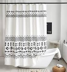 uphome boho duschvorhang schwarz weiß stoff geometrisches tribal duschvorhang set mit haken modern ethnisch böhmisch badezimmer dekoration
