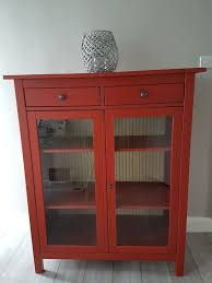 Red Ikea Hemnes Glass Fronted Linen Cabinet Cupboard