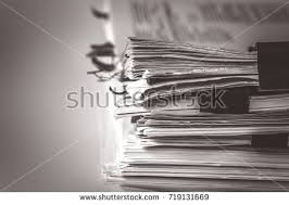Extremely Close Up The Report Paper Stacking Of Office Working Document With Clip Folder