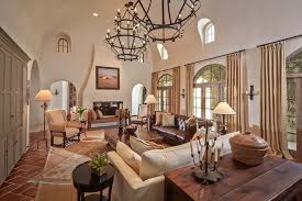 leather and cloth sofas living room mediterranean with arch