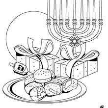 Dreidel Chanuka Symbols Coloring Page