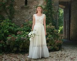 Ivory Cotton Lace Viscose Bridal Gown Boho Wedding Dress