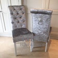 Grey Upholstered Dining Chairs With Nailheads by Crushed Velvet Dining Chair With Crystal Buttons And Lion Pull
