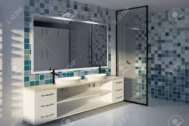 gefliestes blaues badezimmer mit doppelwaschbecken zwei schubladen großem spiegel und dusche mit glaswand mock der wiedergabe 3d oben