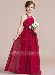 a line princess scoop neck floor length chiffon junior bridesmaid