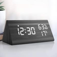 wecker digitaler led wecker uhr holz digitalwecker tischuhr mit sprachsteuerung snooze funktion datum temperatur und luftfeuchtigkeit für zuhause