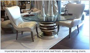 Walnut And Silver Leaf Finish Table Base Shown With Custom Made Dining Chairs