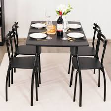 5 Pcs Dining Table Set With 4 Chairs - Black   Dining Table ... Steel Ding Room Chairs Kallekoponnet Modern Narrow Table Set Cute With Photo Of 36 Round Natural Laminate With Xbase And 4 Ladder Back Metal Black Vinyl Seat 2 Ding Tables 8 Chairs In Metal Black Retro Design Square Walnut Grid Barstools Amazoncom Shing Wood Laneberg Svenbertil Brown Lucano Marble Leather Mesmerizing Iron Legs Reclaimed Base 5 Piece Kitchen Tag Archived Of Polyurethane Likable Pcs Table