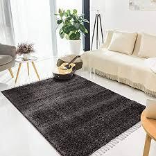 myshop24h teppich wohnzimmer shaggy 300x400 cm anthrazit einfarbig flauschig hochflor teppiche modern mit fransen
